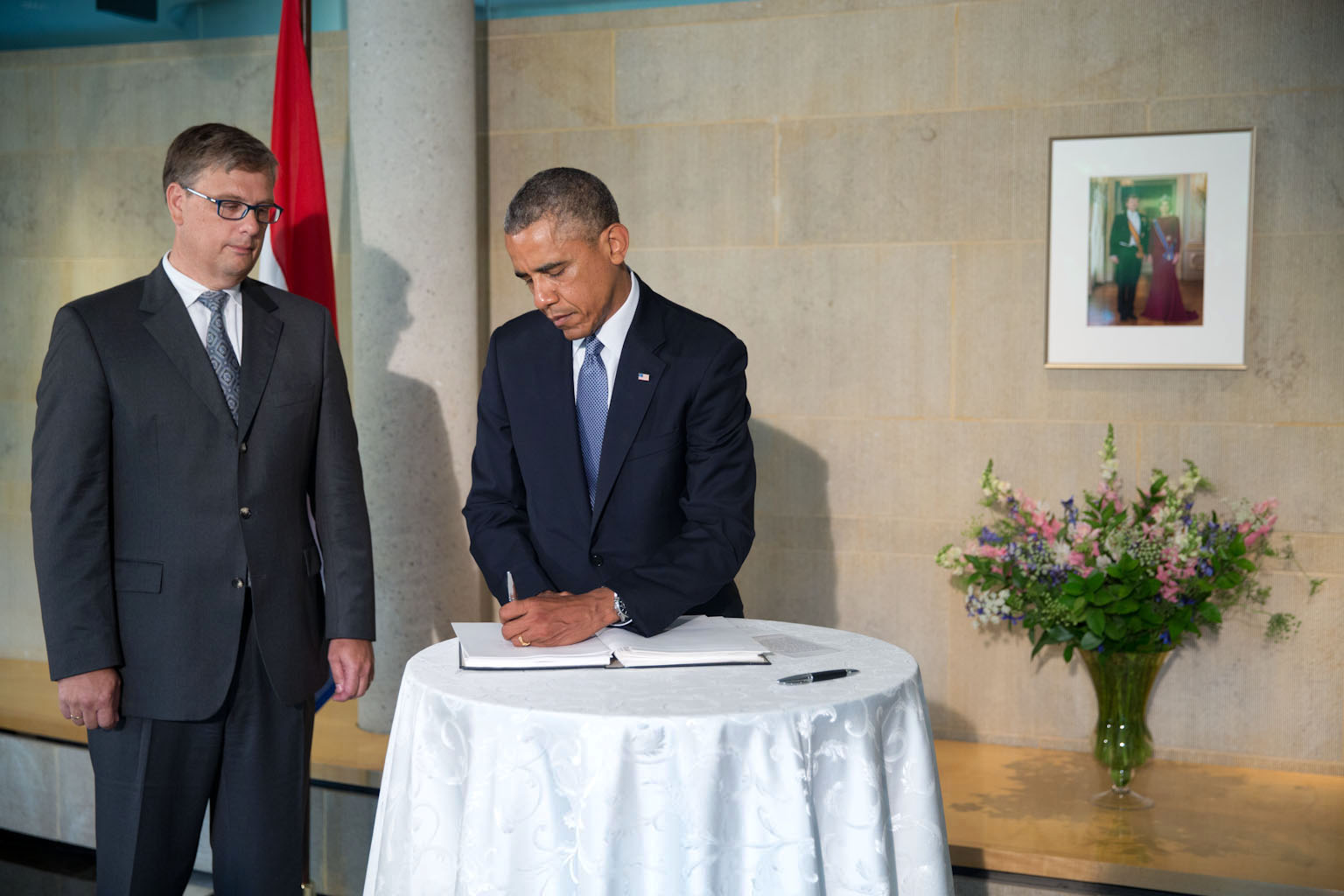 President Barack Obama visits the Embassy of the Netherlands