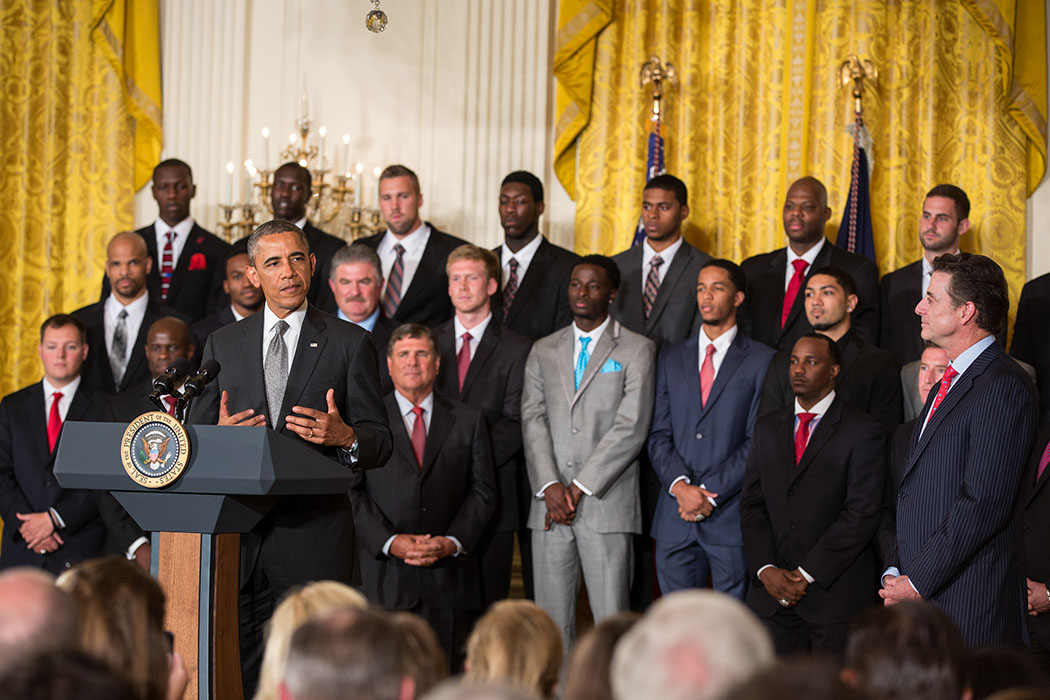 President Barack Obama delivers remarks as he welcomes Coach Rick Pitino and the NCAA Champion University of Louisville Cardinals to the East Room