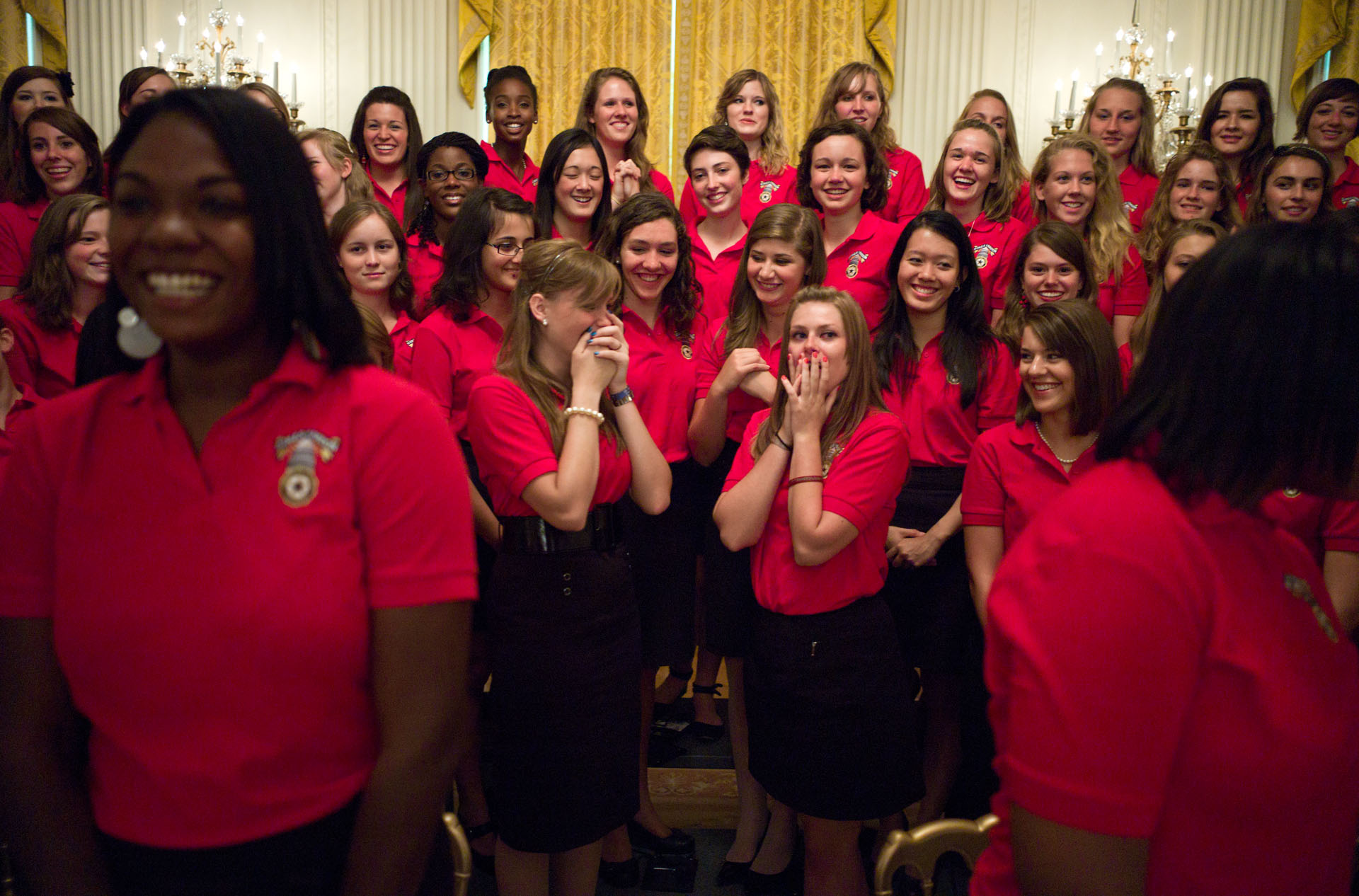 Members Of The American Legion's Girls Nation React After Meeting President Barack Obama