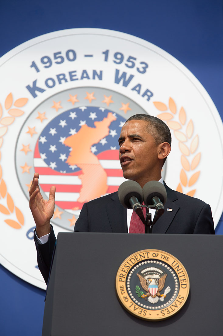 President Barack Obama delivers remarks to commemorate the 60th anniversary of the signing of the Armistice that ended the Korean War