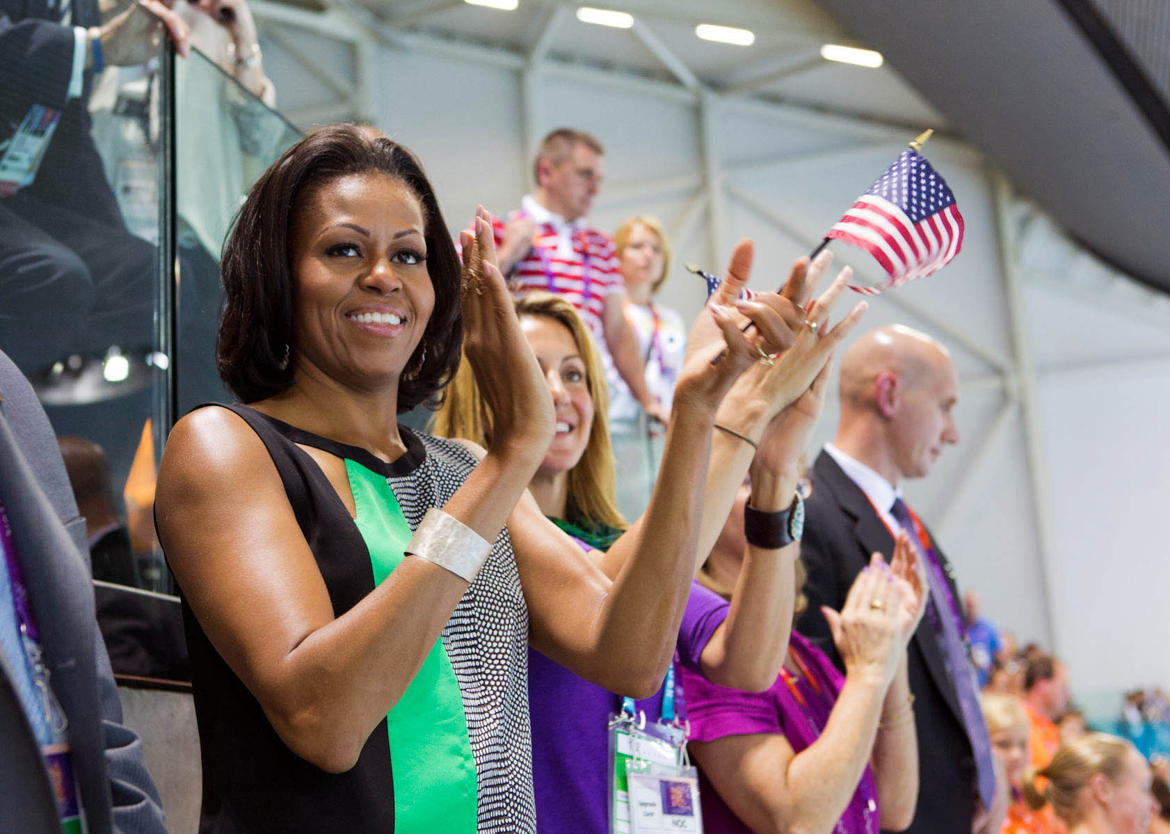 First Lady Michelle Obama Watches the Swimming Finals