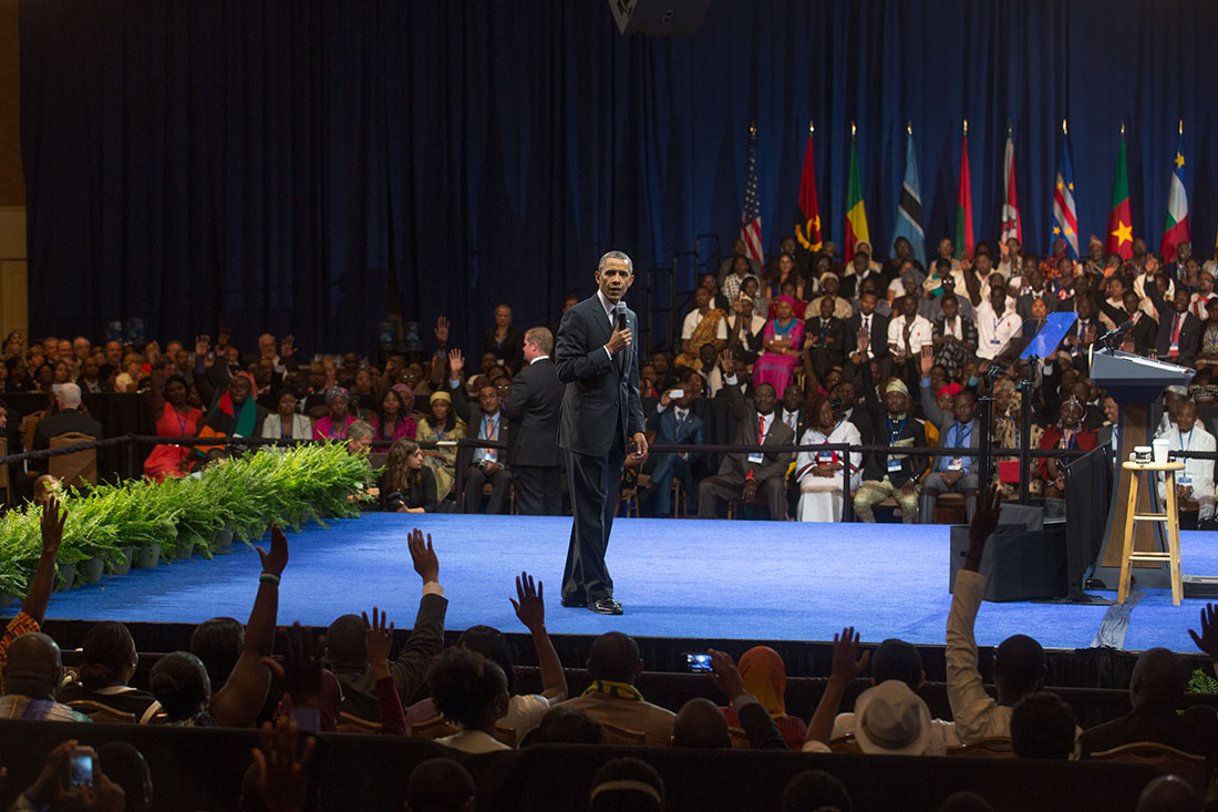 President Barack Obama delivers remarks and answers questions at the Young African Leaders Initiative town hall