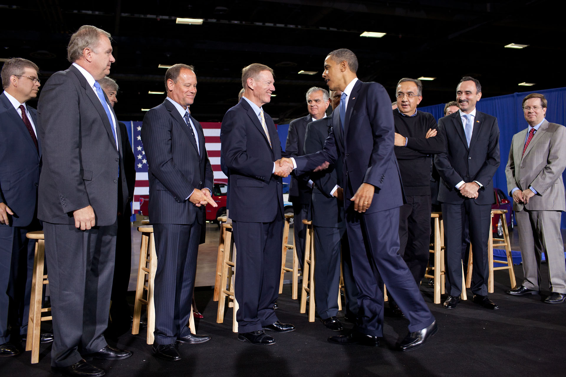 President Barack Obama greets Auto Industry Executives