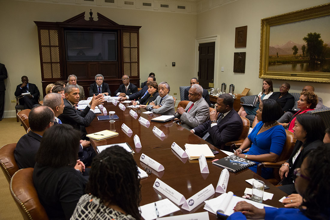President Barack Obama meets with Civil Rights leaders in the Roosevelt Room of the White House