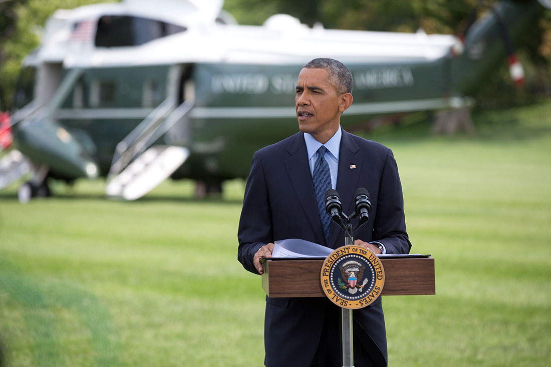 President Barack Obama delivers a statement on the situation in Ukraine, on the South Lawn of the White House, July 29, 2014