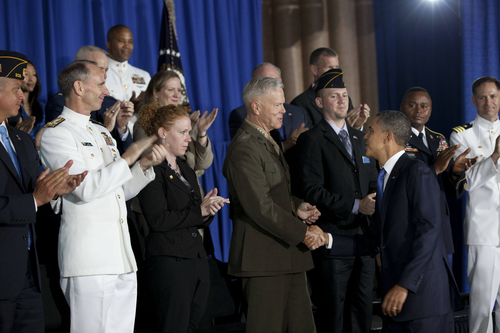 President Barack Obama Shakes Hands after Announcing a Jobs Initiative for Post 9-11 Veterans