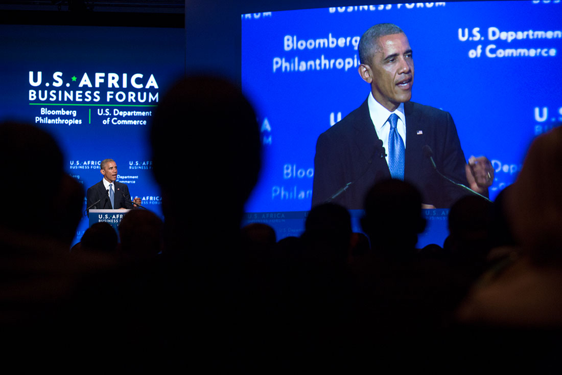 President Barack Obama delivers remarks at the U.S.-Africa Business Forum