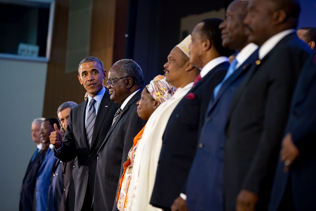 President Barack Obama joins leaders for a class photo during the U.S.-Africa Leaders Summit