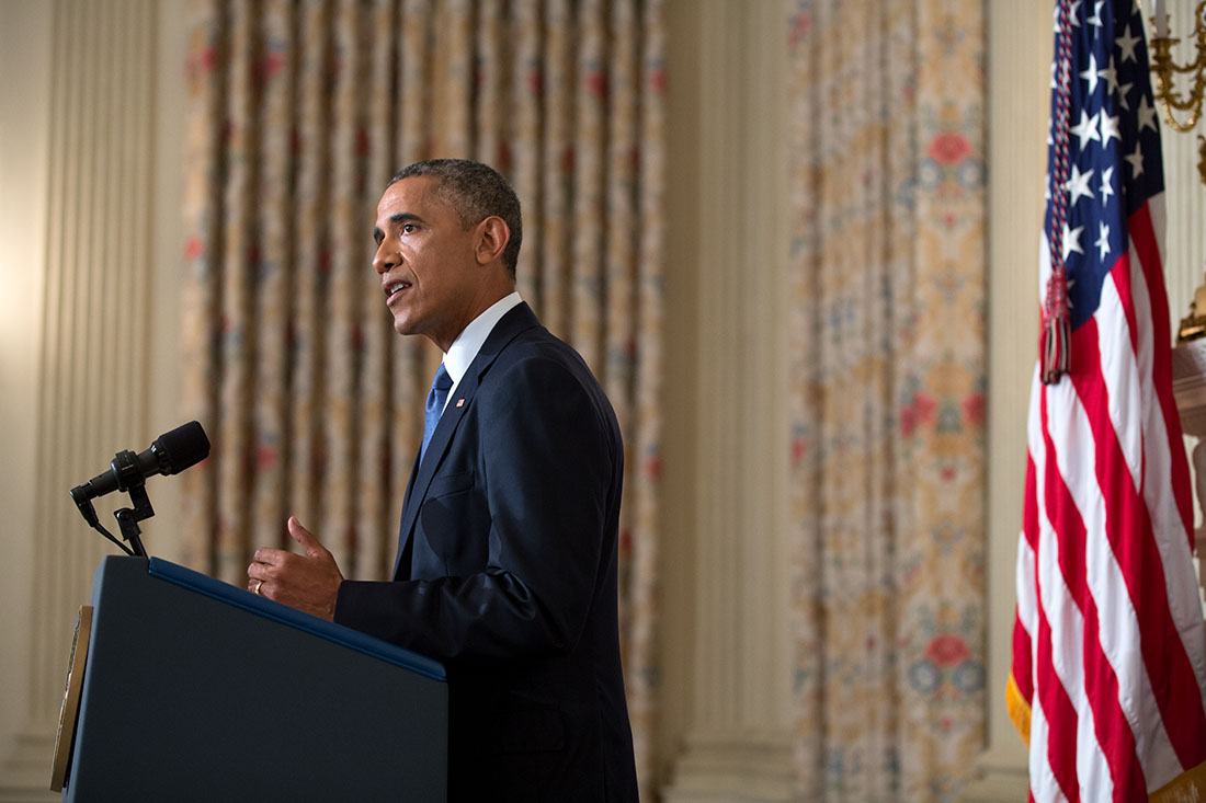 President Barack Obama delivers a statement on Iraq in the State Dining Room of the White House, Aug. 7, 2014.