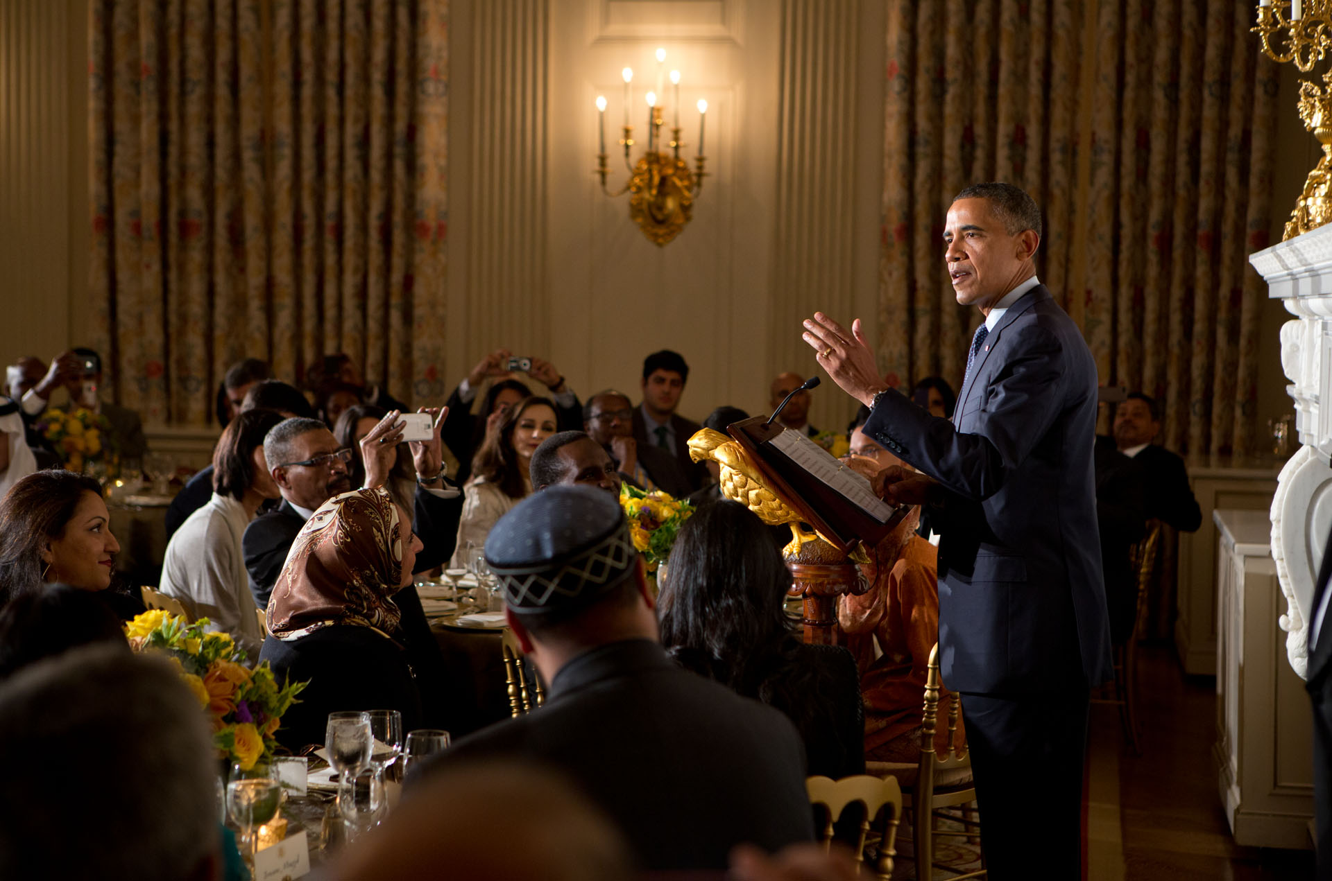 President Barack Obama delivers remarks during the Iftar Dinner, Aug. 10, 2012