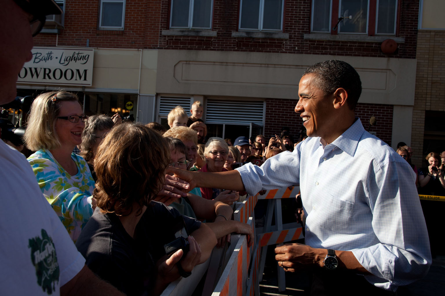 President Obama Greets People in the Street in Decorah, Iowa