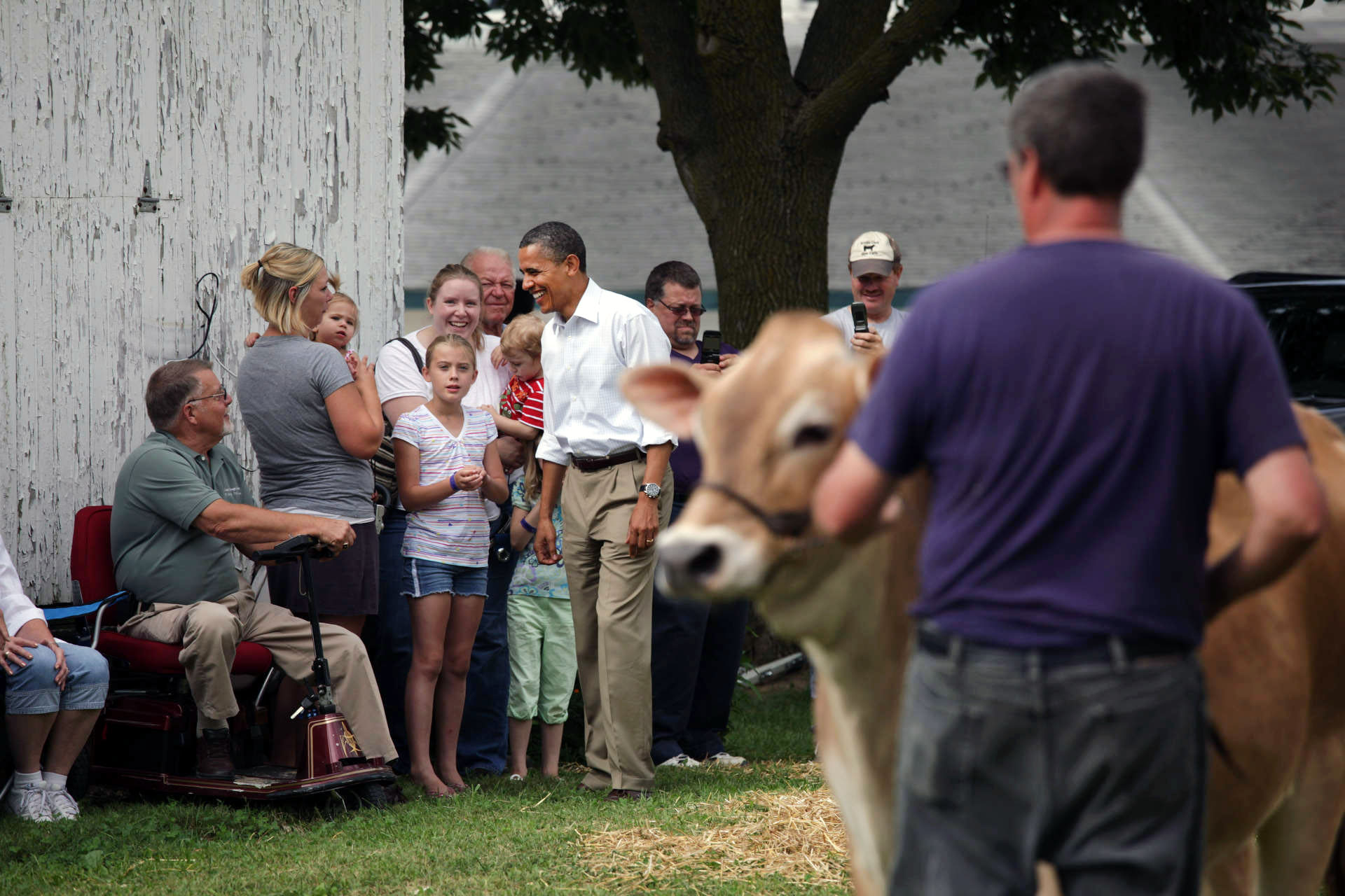 President Barack Obama stops by the Whiteside County Fair in Morrison, Ill.
