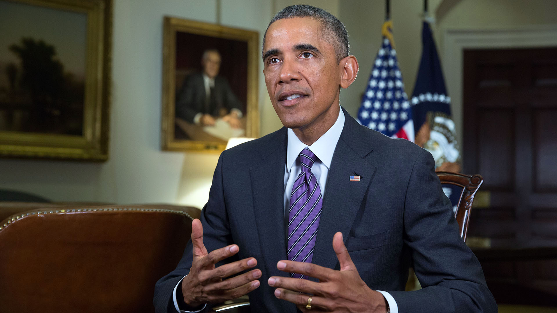 President Barack Obama tapes the Weekly Address in the Roosevelt Room of the White House, Aug. 29, 2014.