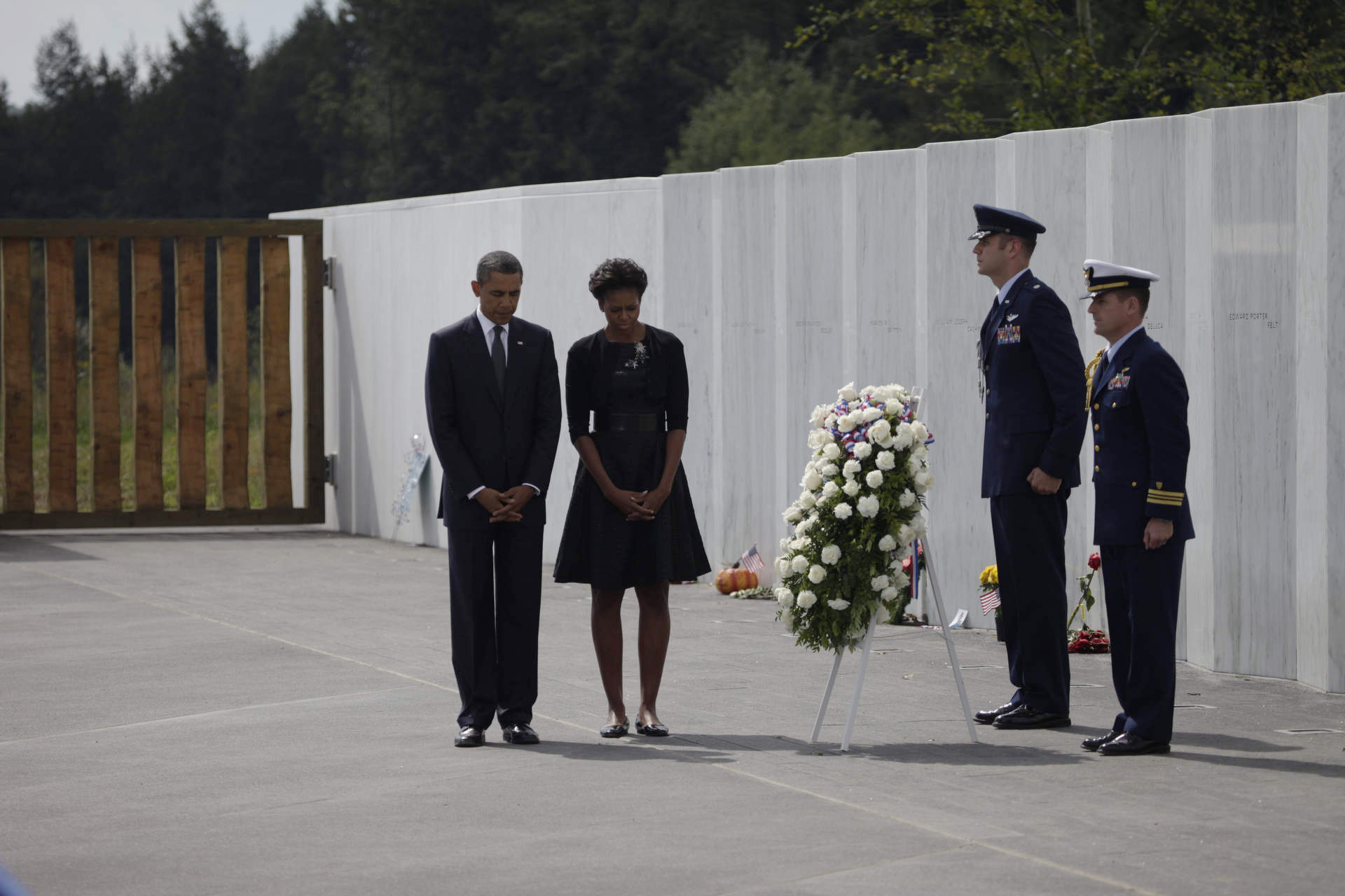 President Obama and First Lady Michelle Obama participate in a wreath laying ceremony in Shanksville PA