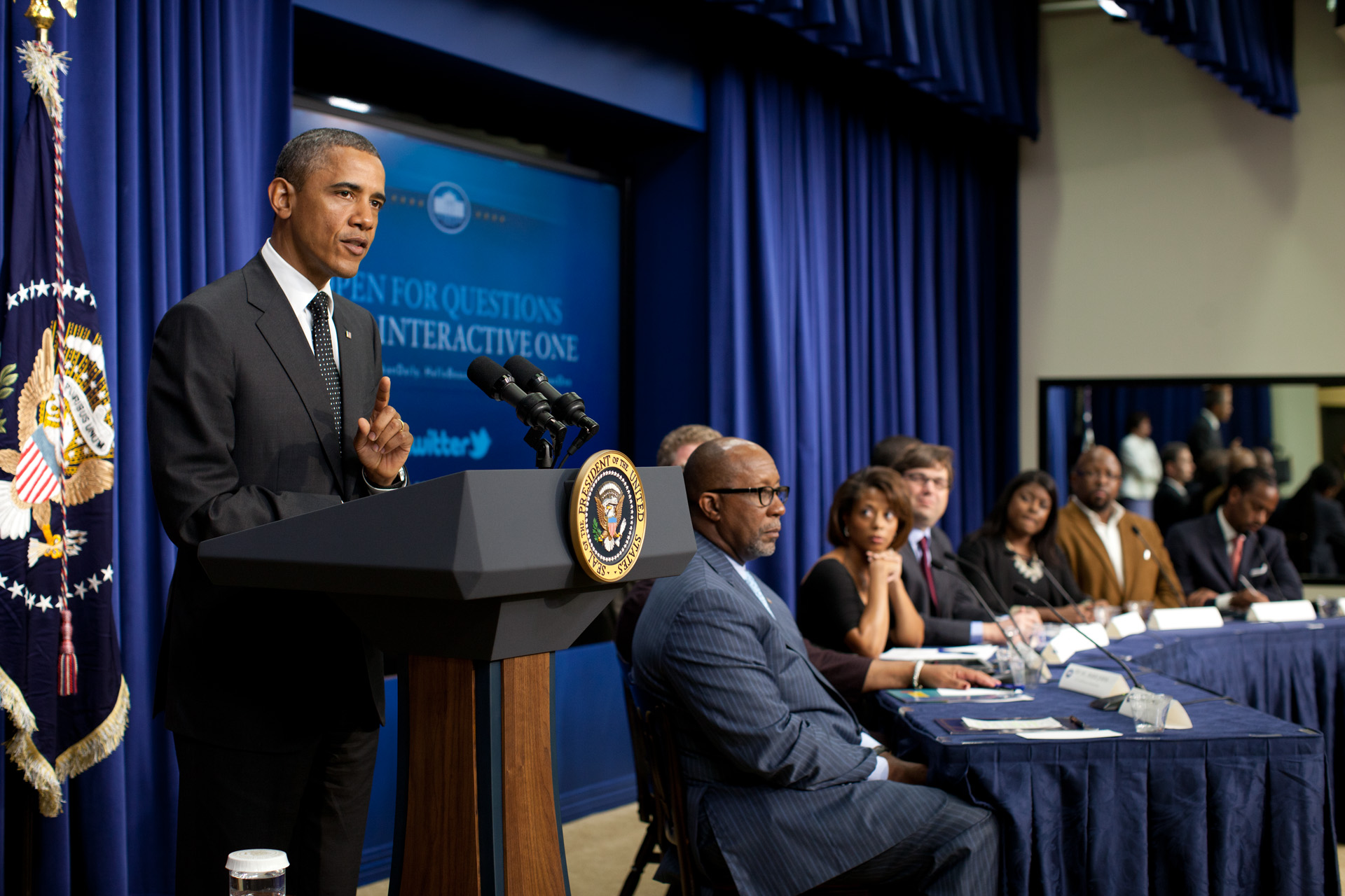 President Barack Obama drops by an Interactive One panel