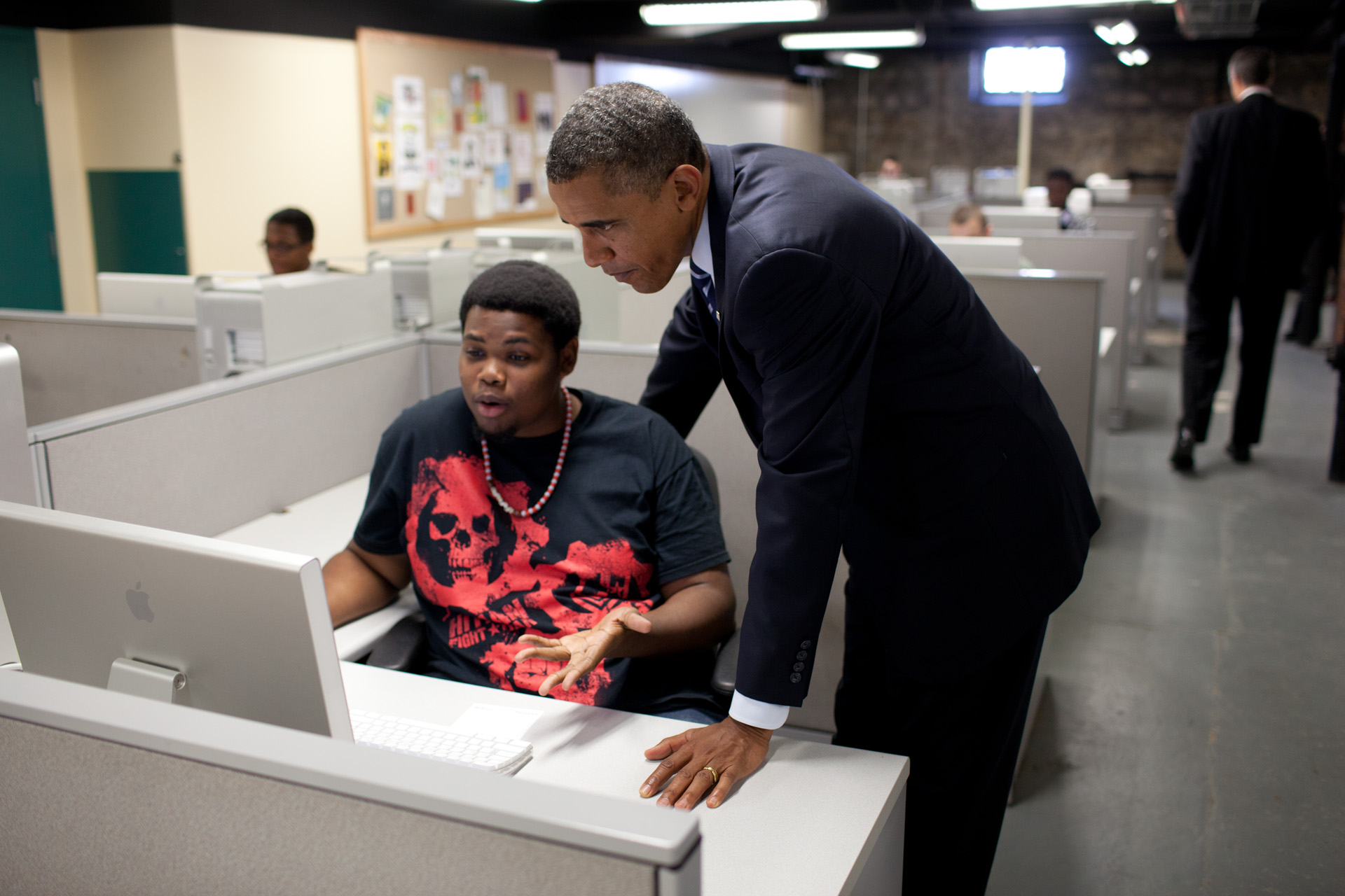 President Obama with a Student in Columbus, Ohio