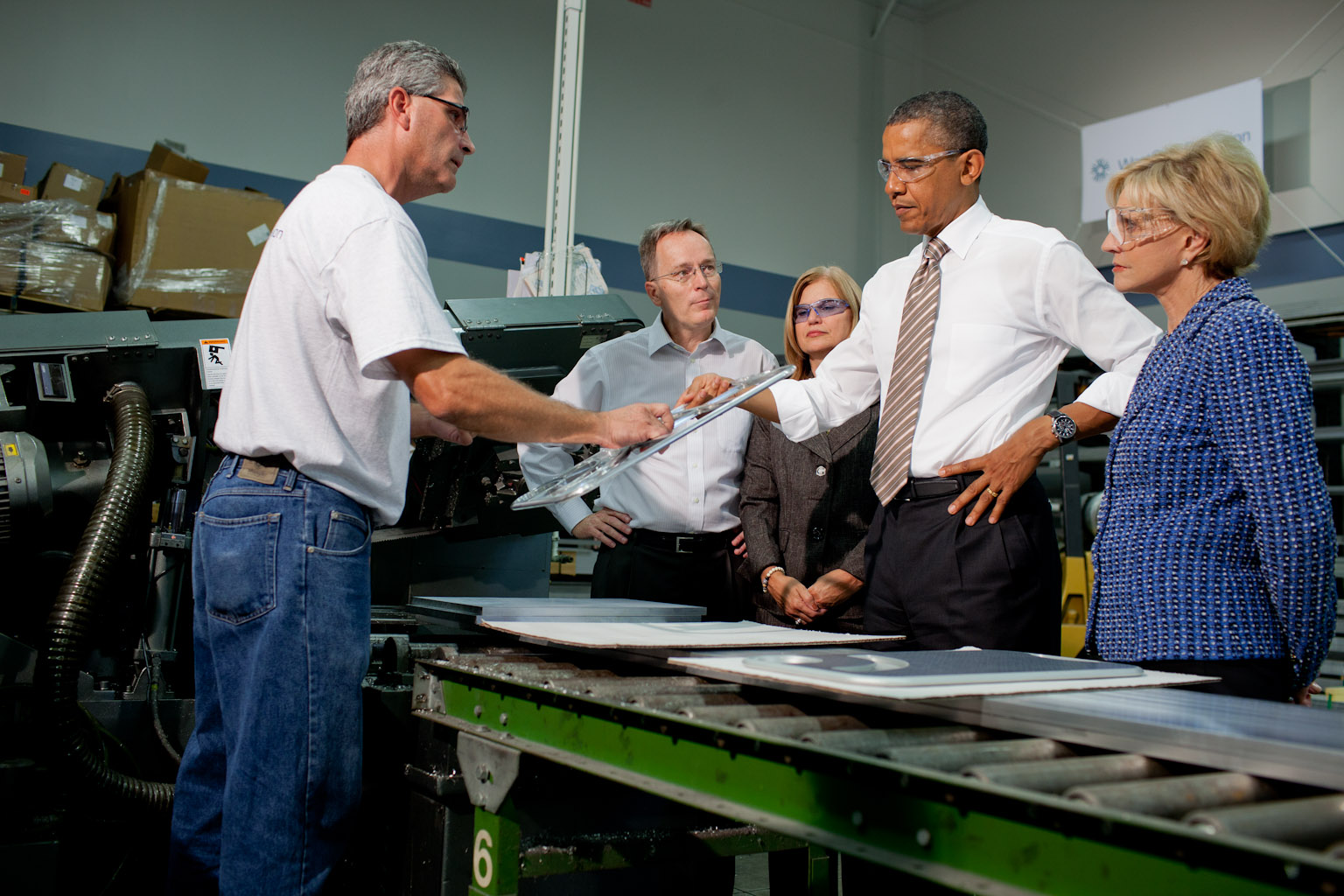 President Barack Obama tours WestStar Precision in N.C.