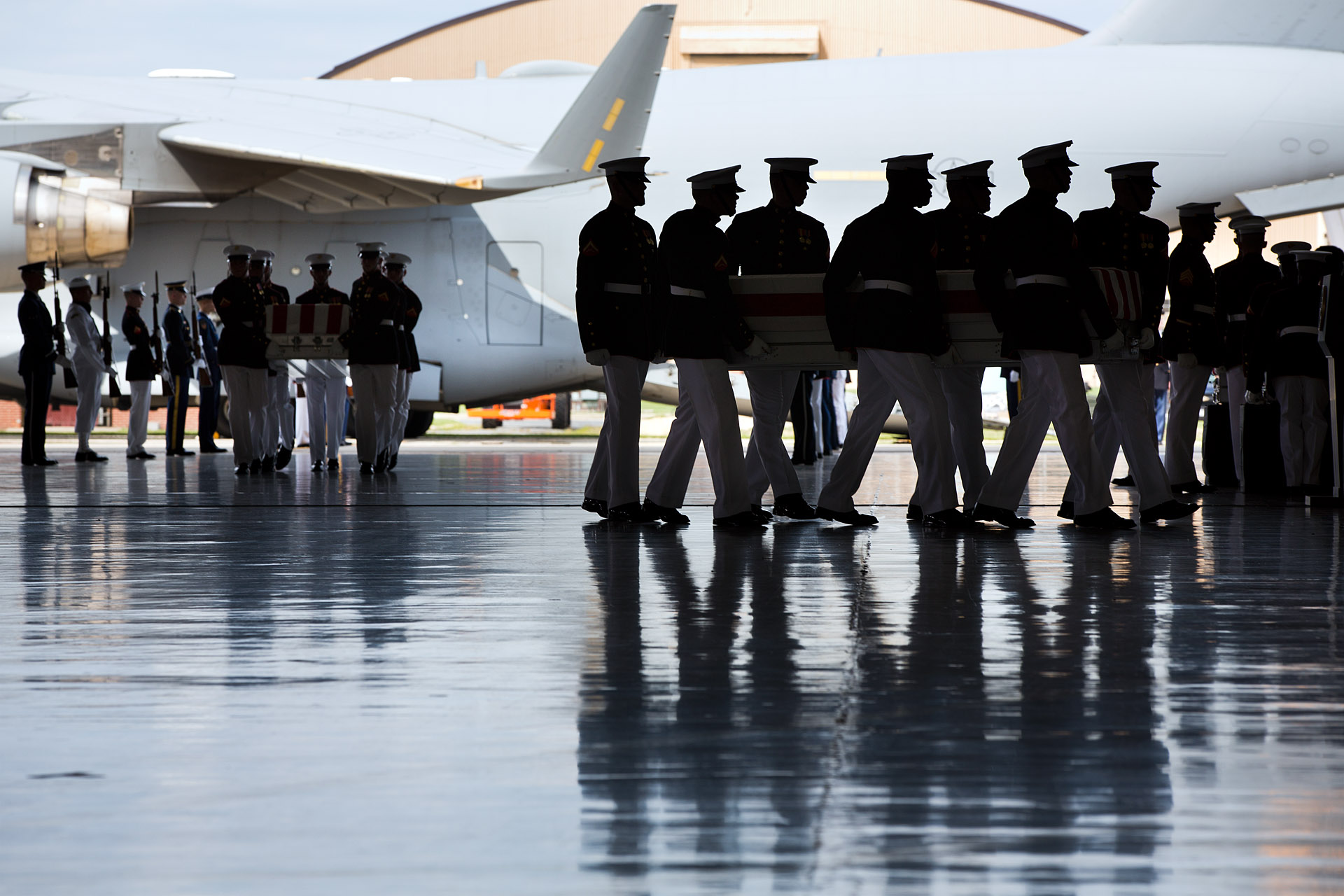 Marines During the Transfer of Remains Ceremony at Joint Base Andrews, Sept. 14, 2012
