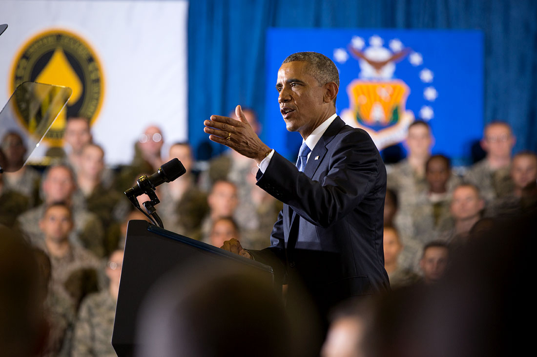 President Barack Obama delivers remarks at the Short Fitness Center, U.S. Central Command at MacDill Air Force Base