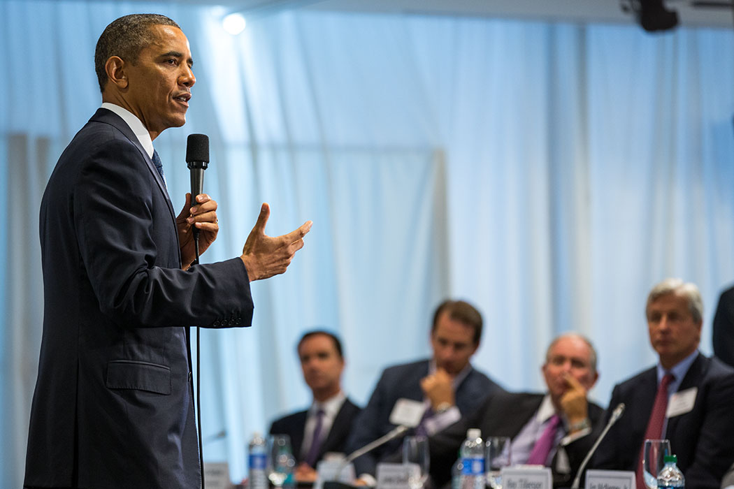 President Barack Obama delivers remarks and participates in a Q&A with Business Roundtable members