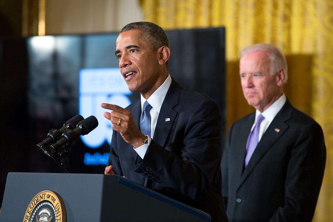 President Barack Obama, with Vice President Joe Biden, delivers remarks at an event to launch the