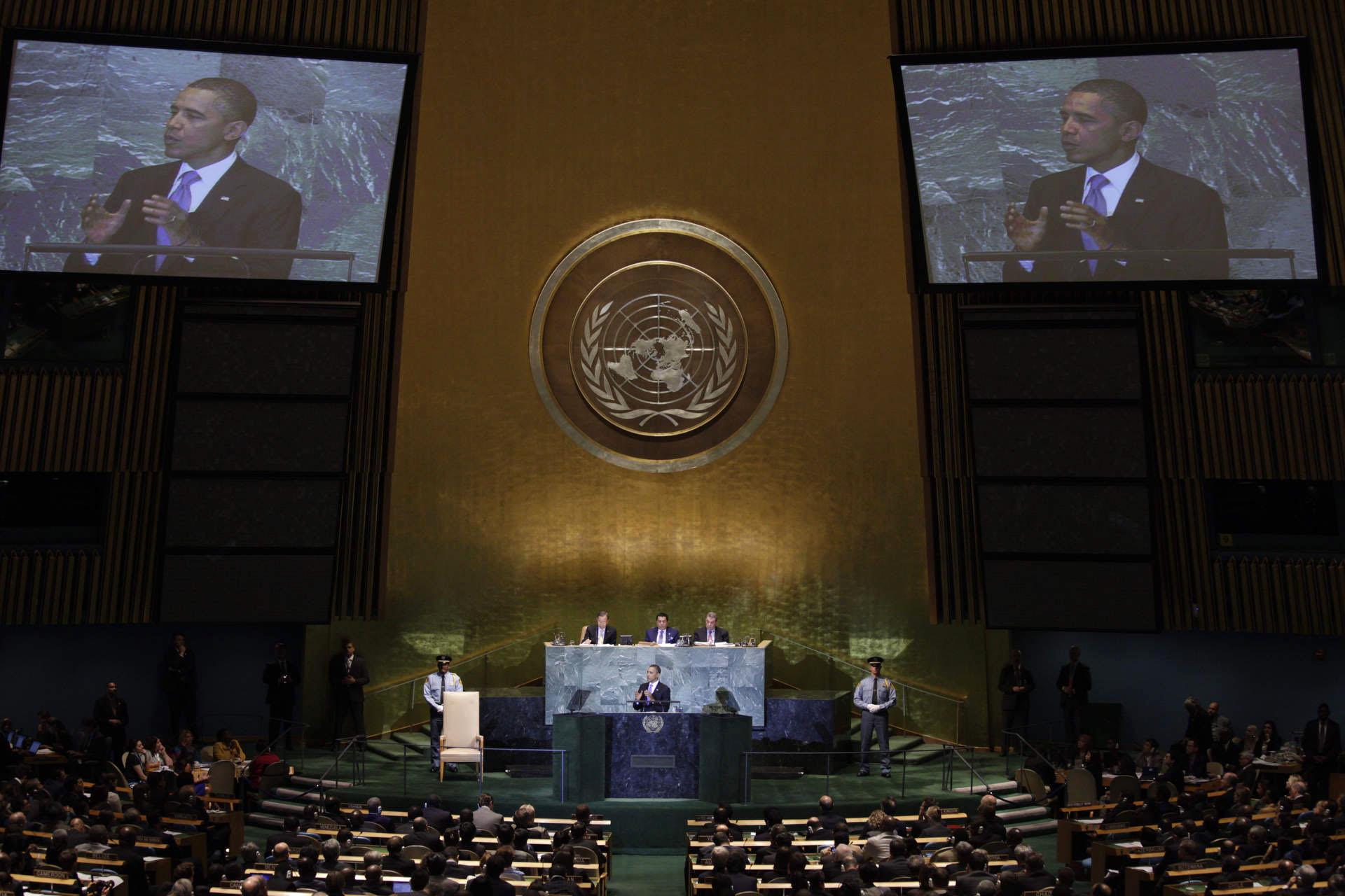 President Barack Obama addresses the United Nations General Assembly in New York