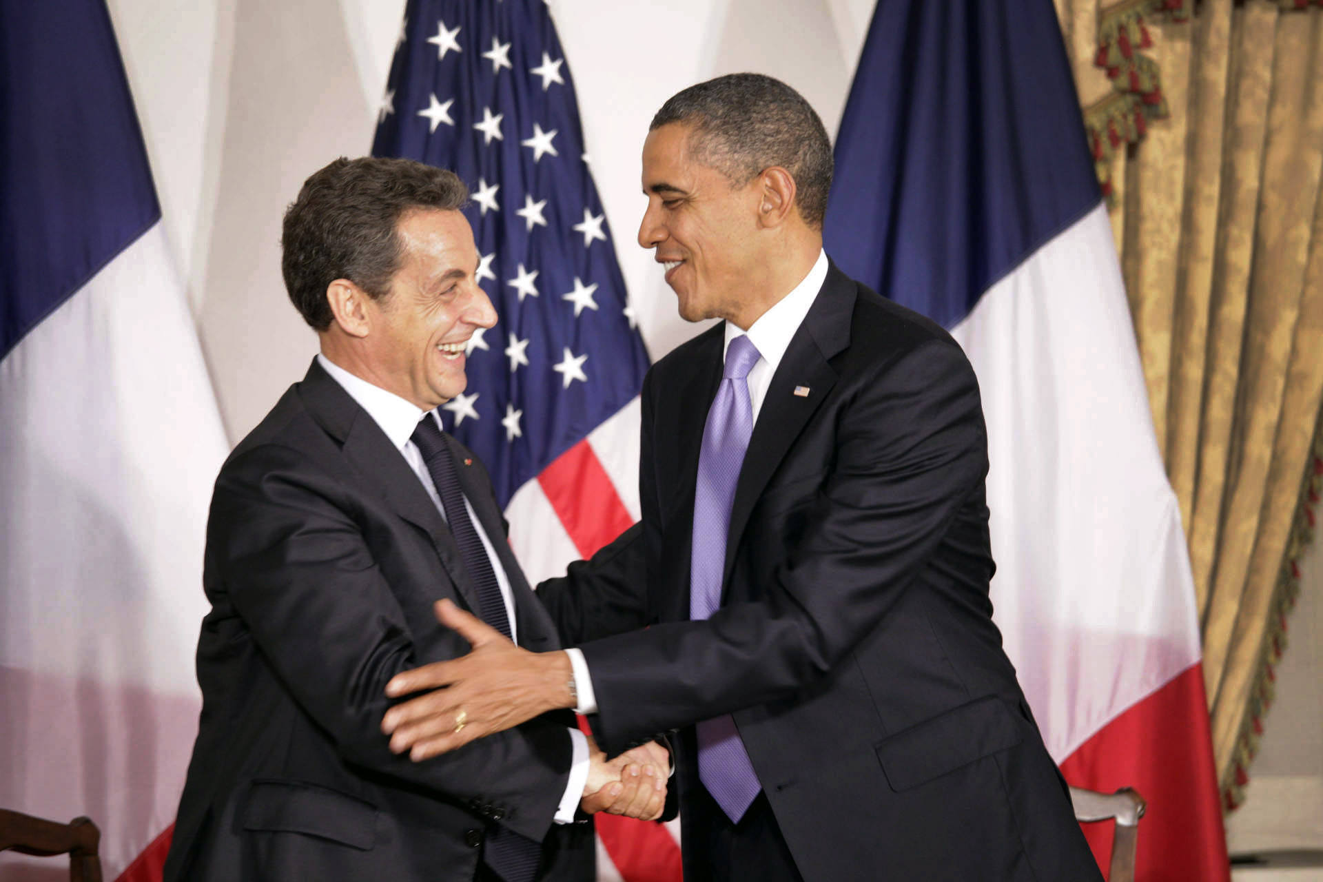 President obama meets with world leaders on day two at the un president barack obama greets president nicolas sarkozy of france m4hsunfo Image collections