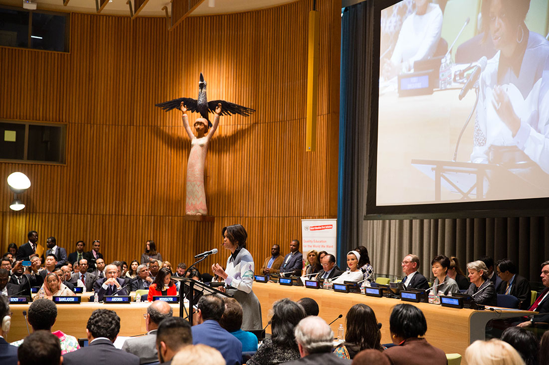 First Lady Michelle Obama delivers the special keynote address at the United Nations' Global Education First Initiative's high-level event at the U.N. Headquarters