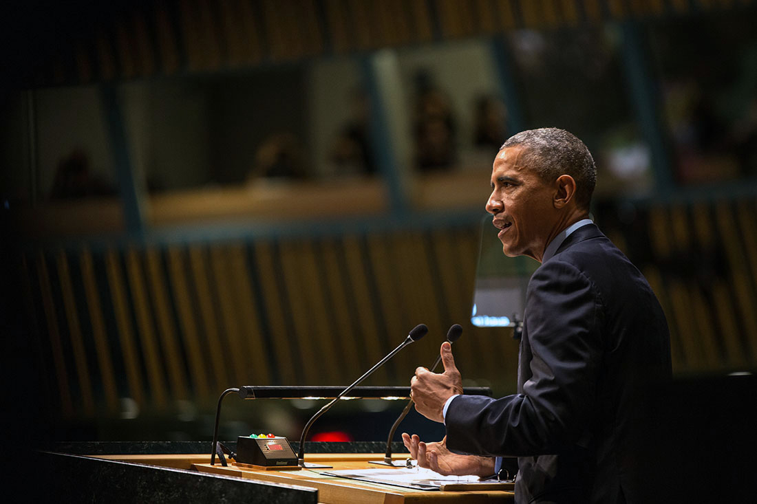 President Barack Obama delivers remarks at the United Nations General Assembly Climate Summit 2014