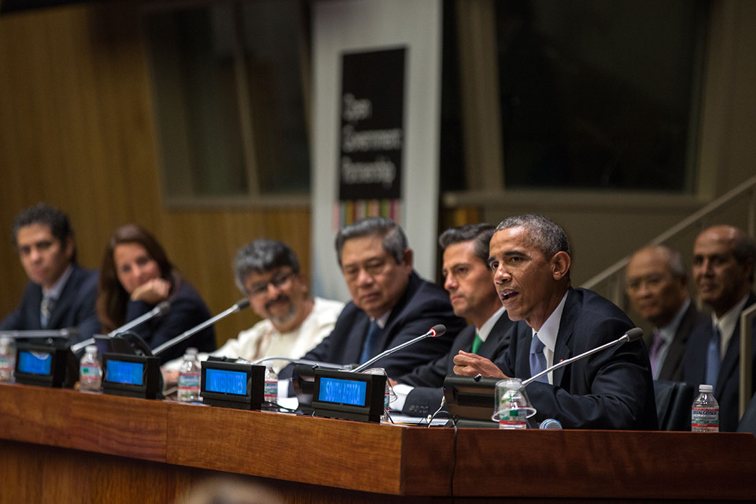 President Barack Obama delivers remarks during a meeting on the Open Government Partnership at the United Nations