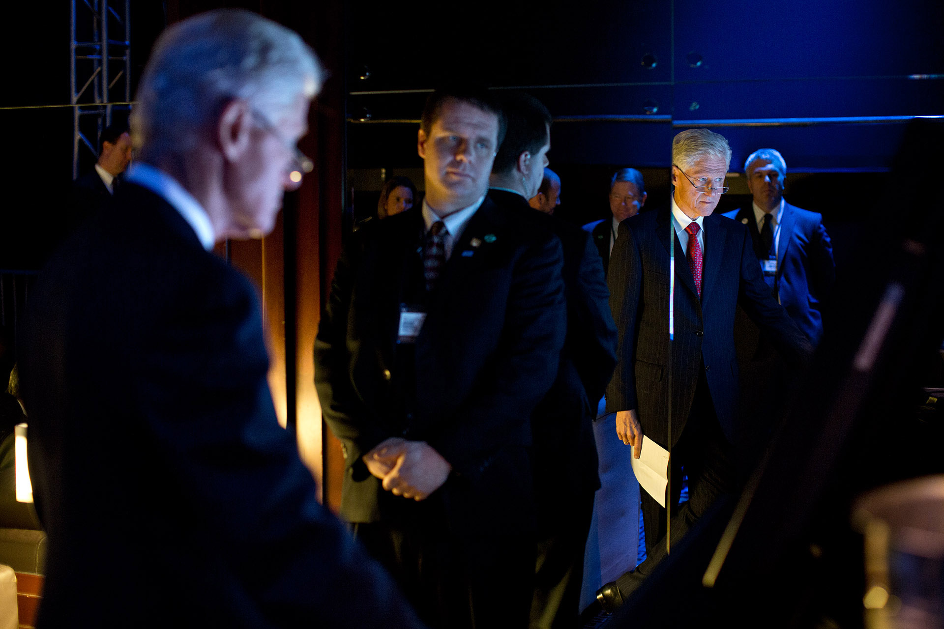 Former President Clinton Watches President Obama Deliver Remarks