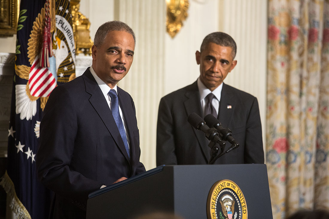 Attorney General Eric H. Holder Jr.,  delivers remarks following President Barack Obama's statement announcing Holder's departure