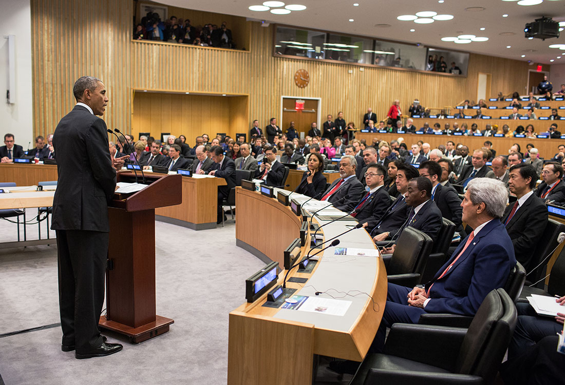 President Barack Obama delivers remarks on the Ebola epidemic during a meeting chaired by United Nations Secretary-General Ban Ki-moon at the United Nations