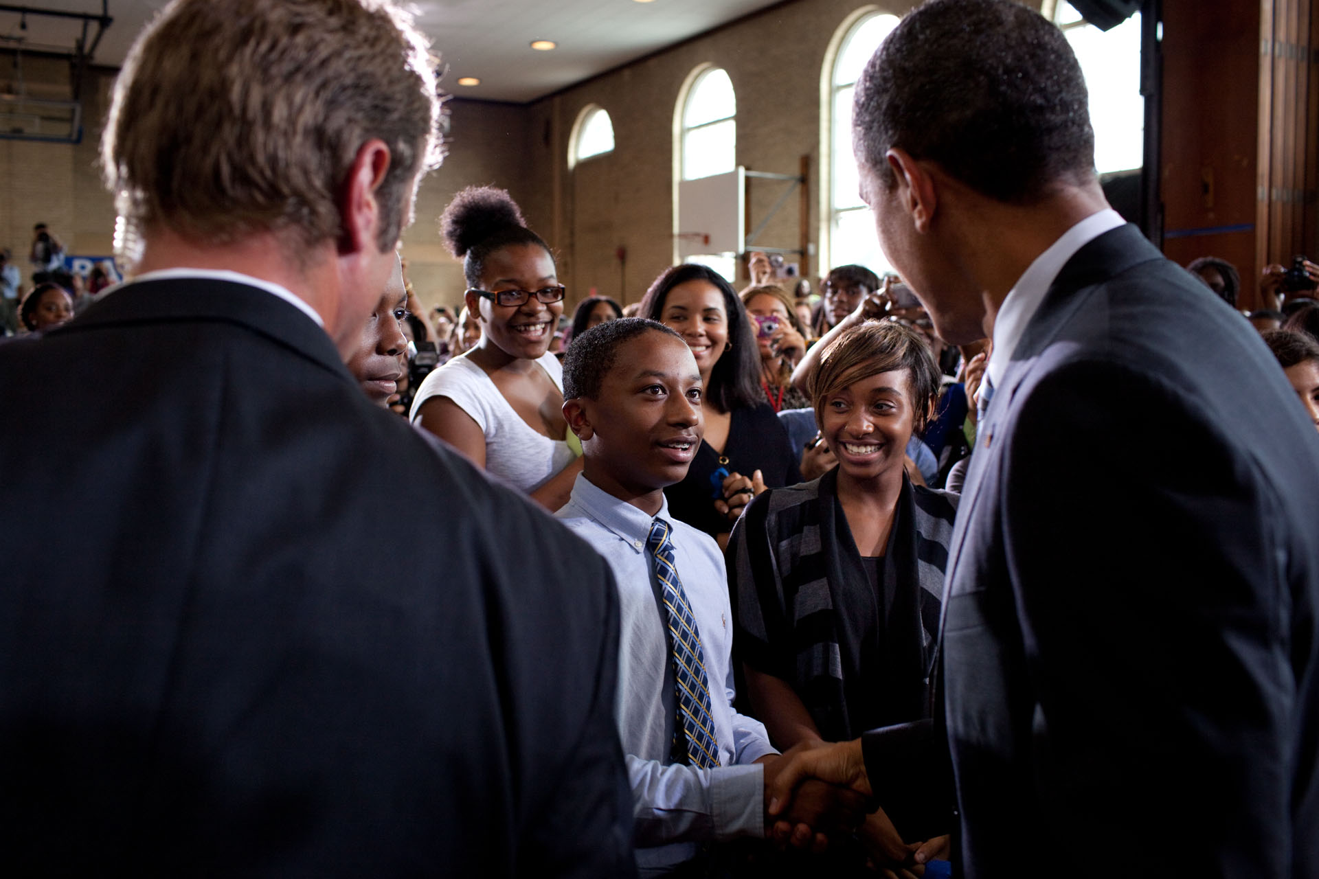 President Barack Obama with students after delivering his third annual Back-to-School Speech