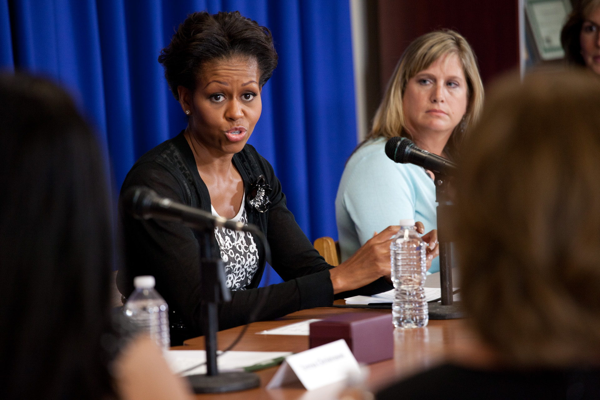 First Lady Michelle Obama participates in a roundtable with Military Spouses