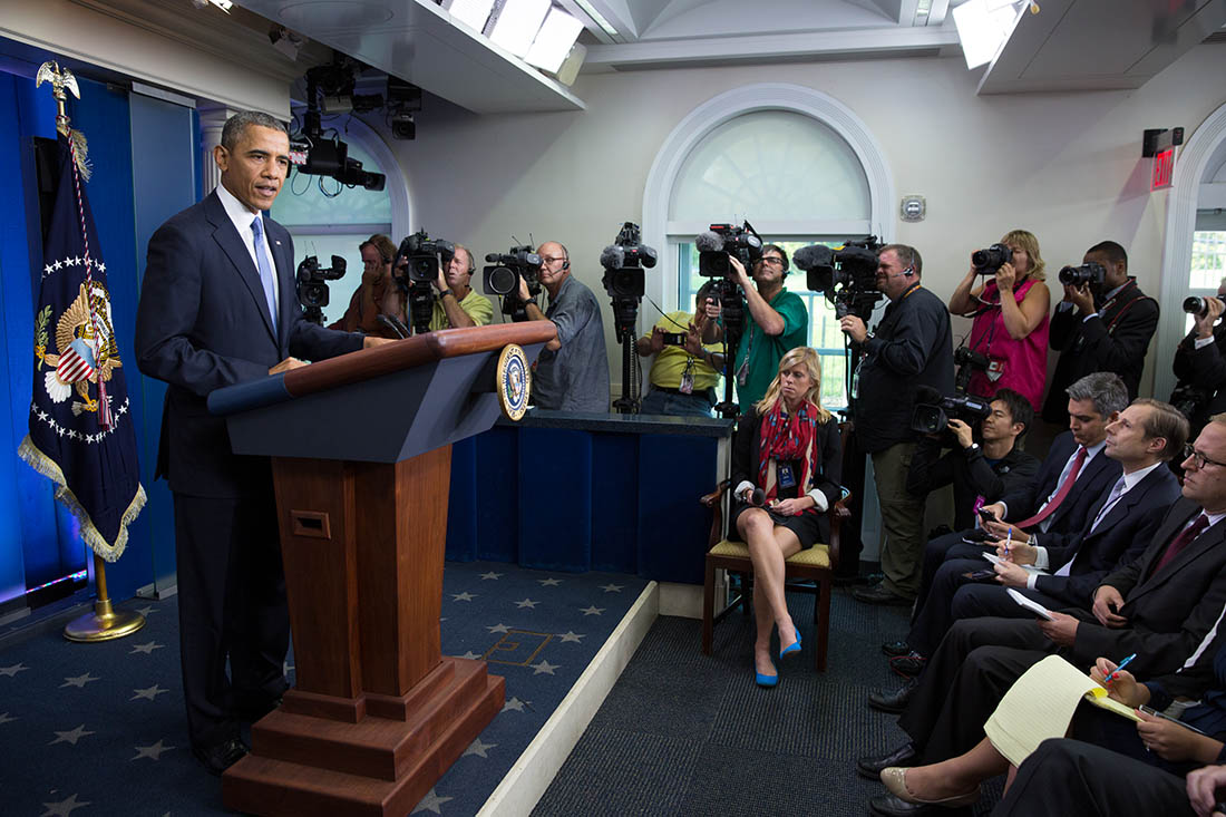 President Barack Obama delivers remarks on the budget negotiations, in the James S. Brady Press Briefing Room of the White House