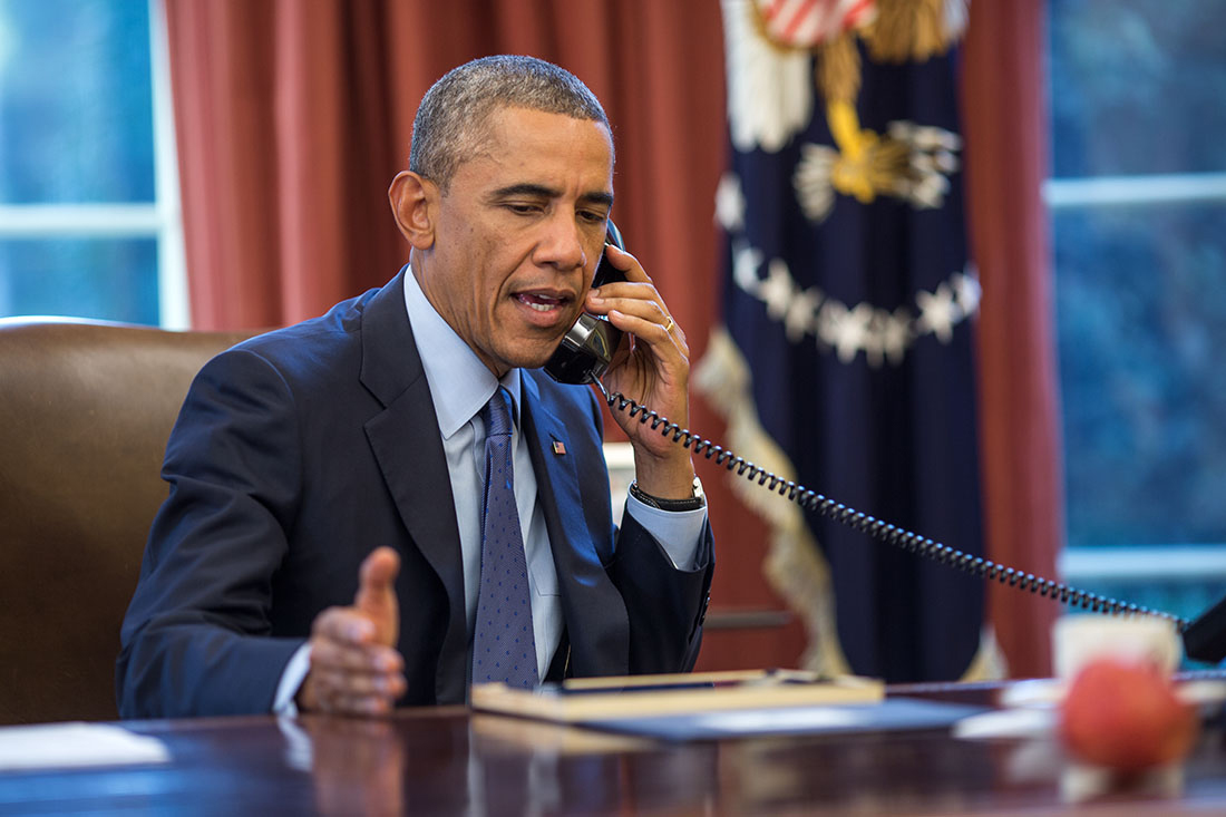 President Barack Obama talks on the phone with CDC Director Tom Frieden about the Ebola case in Dallas