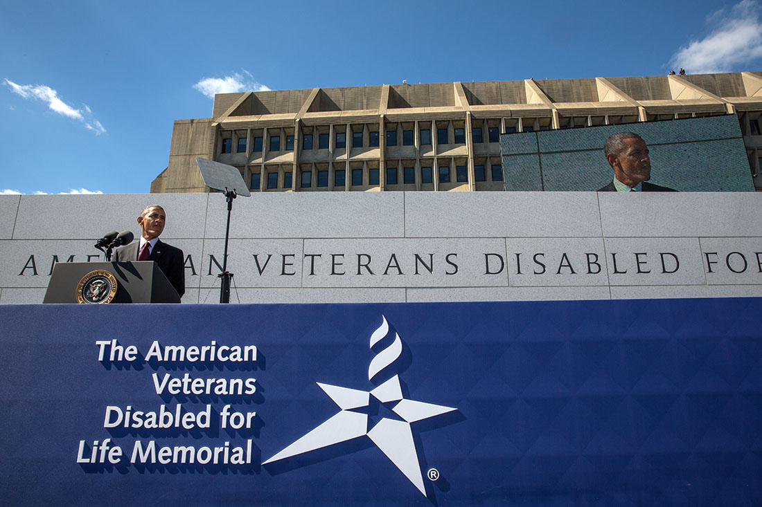 President Barack Obama delivers remarks during the dedication ceremony of the American Veterans Disabled for Life Memorial