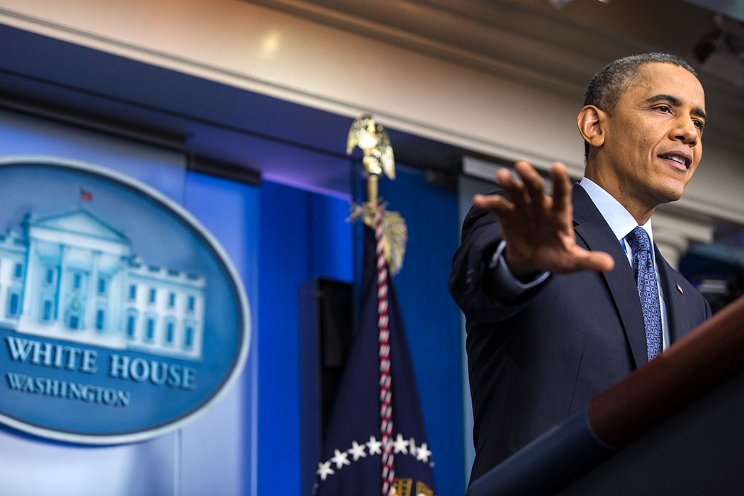 President Obama Answers a Question During a Press Conference on the Government Shutdown