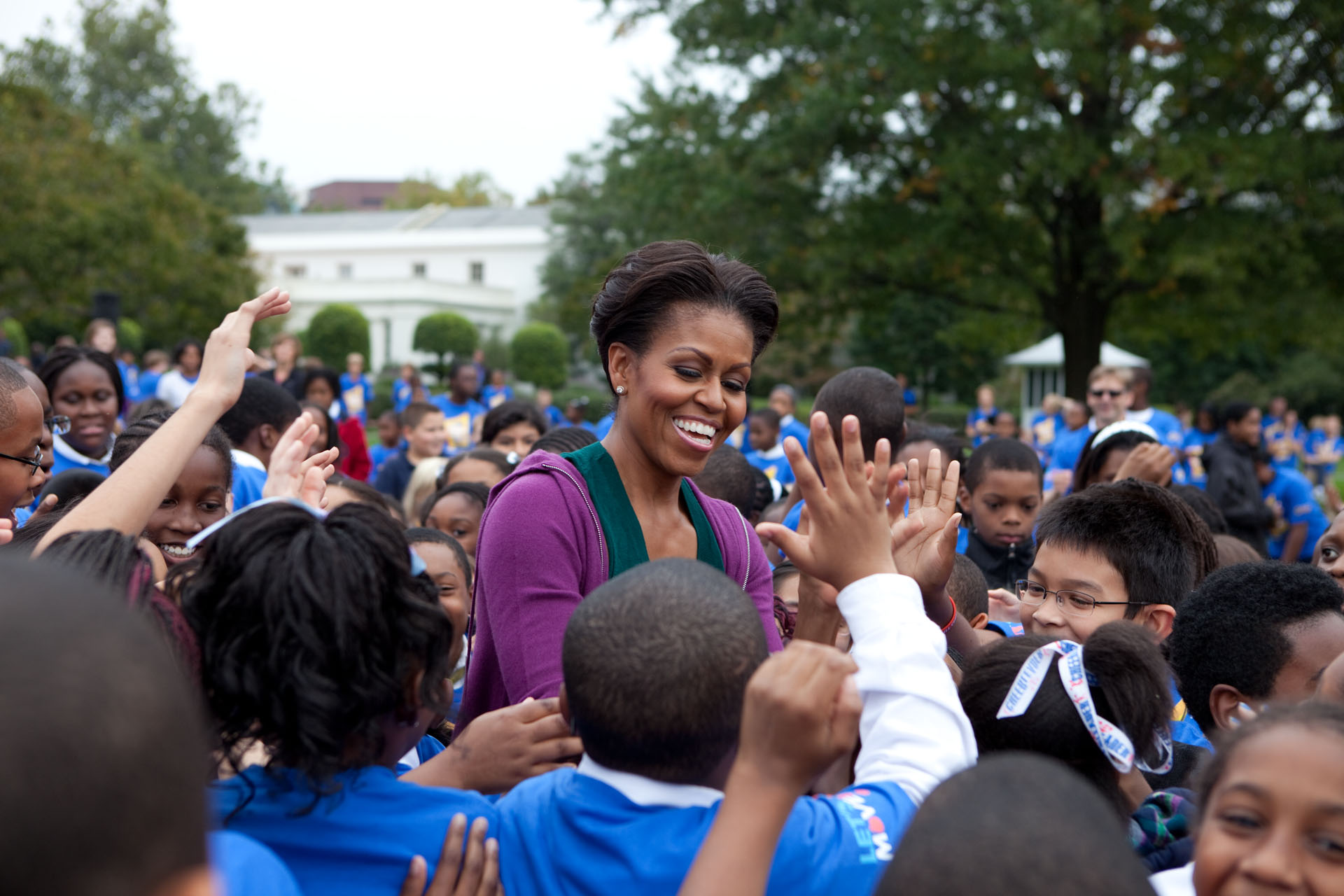 First Lady Michelle Obama after doing Jumping Jacks to break the Guinness Record