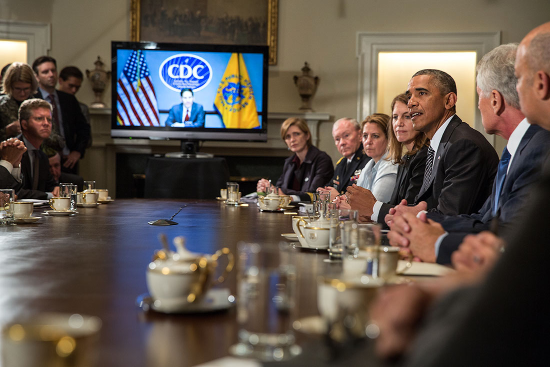 President Barack Obama Delivers A Statement To The Press After A Meeting  With Cabinet Agencies Coordinating