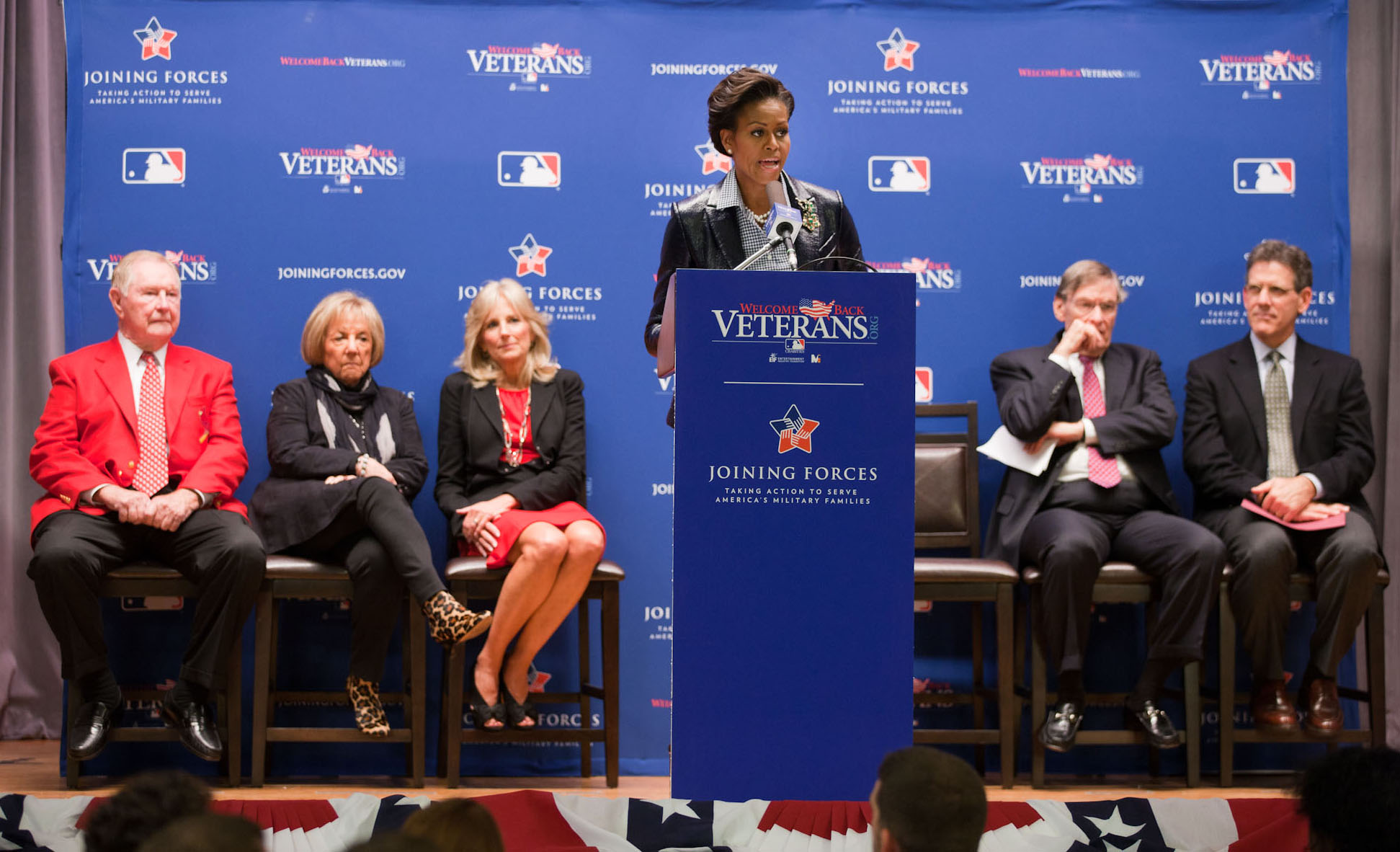 First Lady Michelle Obama and Dr. Jill Biden join representatives from Major League Baseball