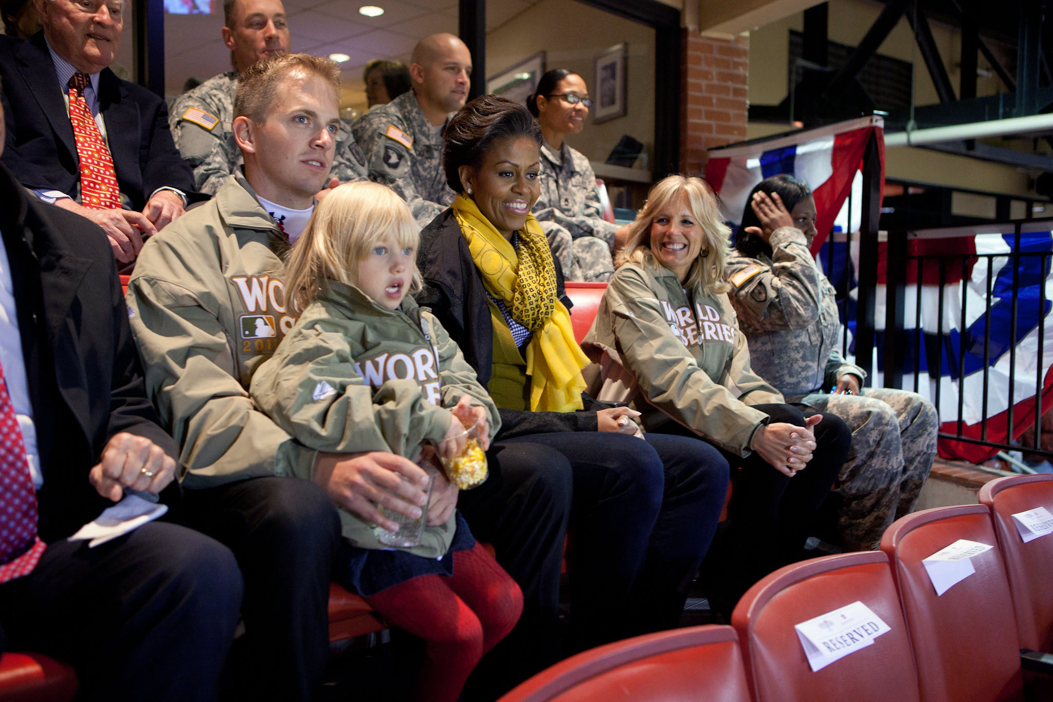 First Lady Michelle Obama and Dr. Jill Biden watch Game one of the 2011 World Series