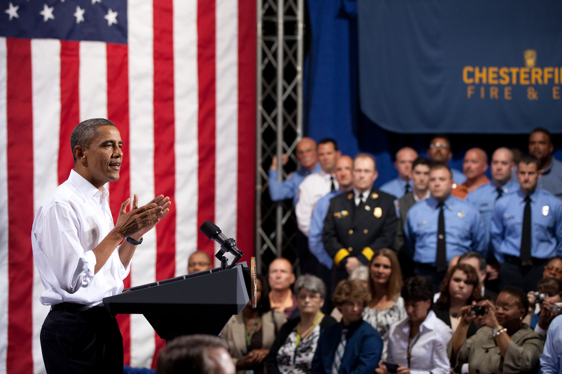 President Obama on the American Jobs Act at Fire Station No. 9 in Virginia