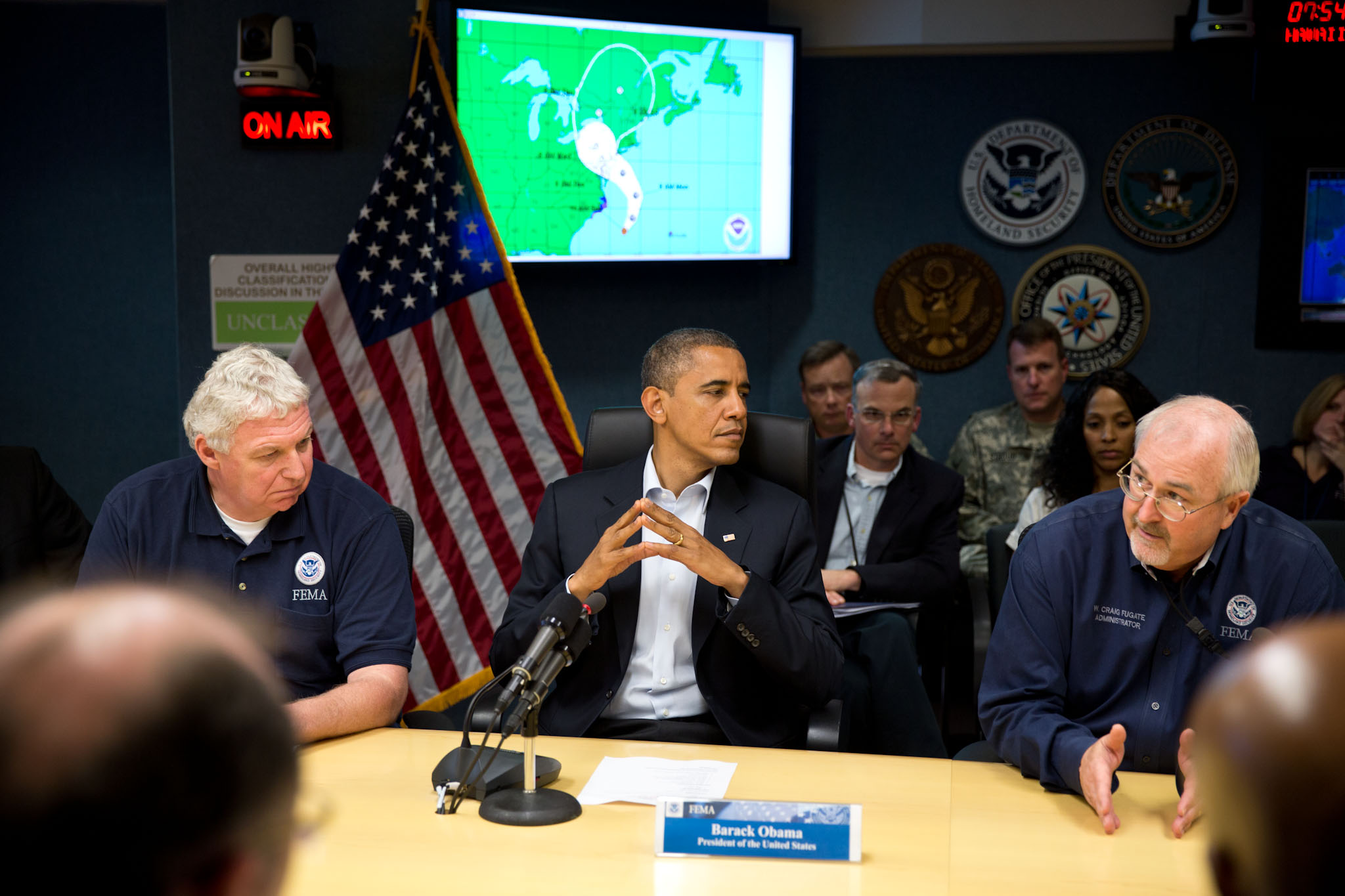 President Obama receives an update on the ongoing response to Hurricane Sandy