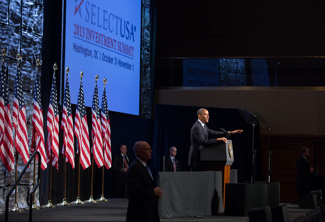President Barack Obama delivers remarks at the SelectUSA Investment Summit in Washington, D.C., Oct. 31, 2013.