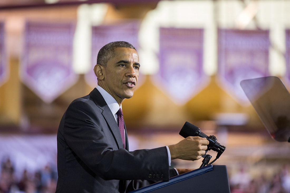 President Barack Obama delivers remarks on the economy at Rhode Island College in Providence, R.I., Oct. 31, 2014.