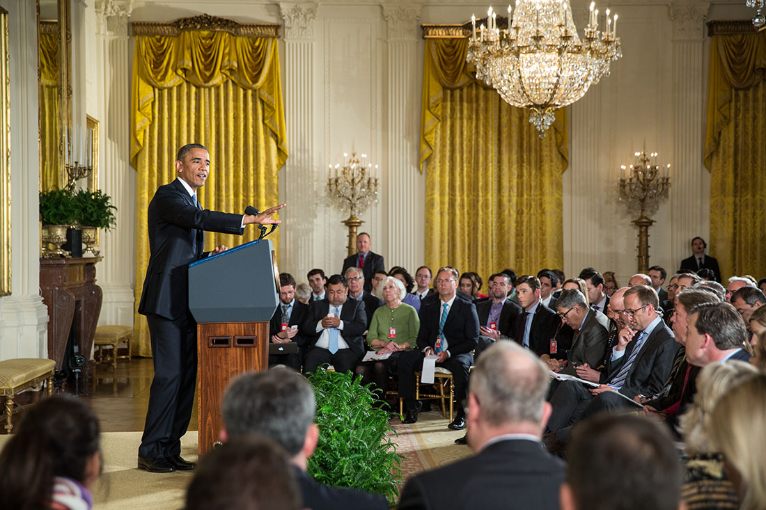 President Barack Obama holds a press conference in the East Room of the White House, Nov. 5, 2014 (1)