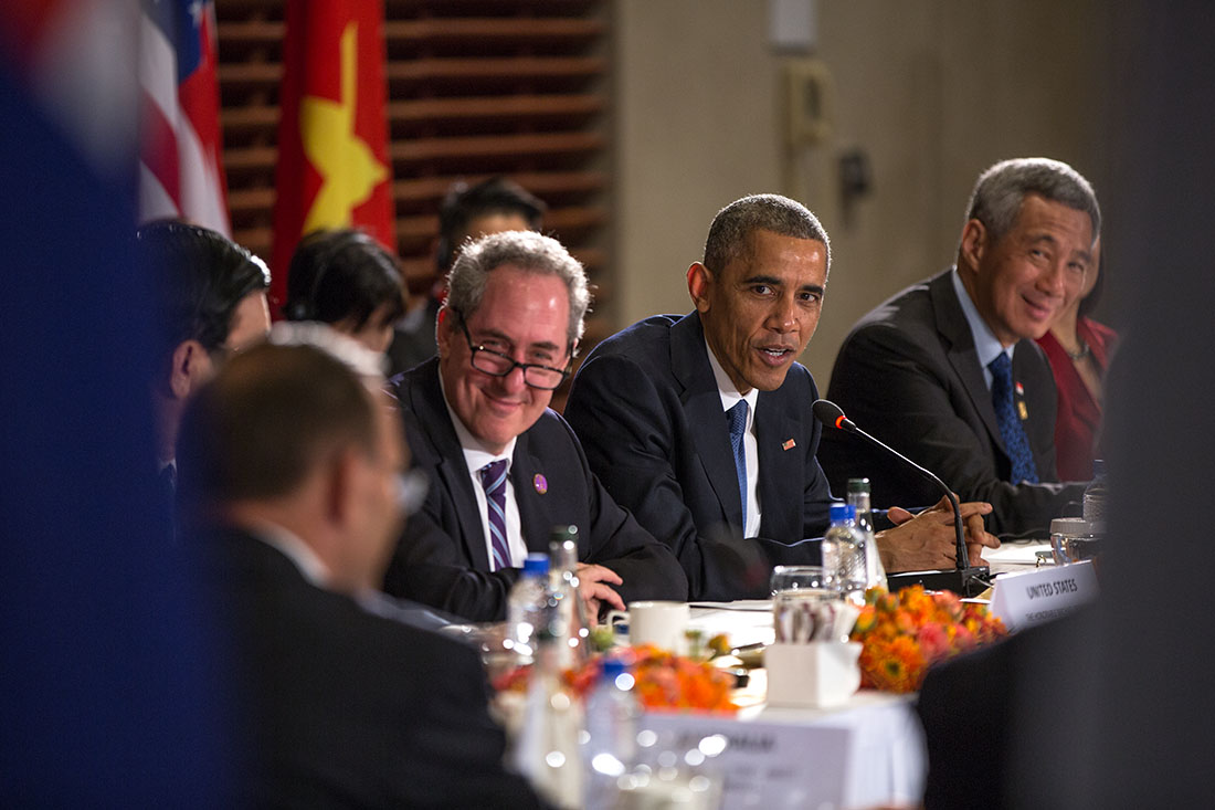 President Barack Obama delivers remarks during a TPP meeting at the U.S. Embassy in Beijing