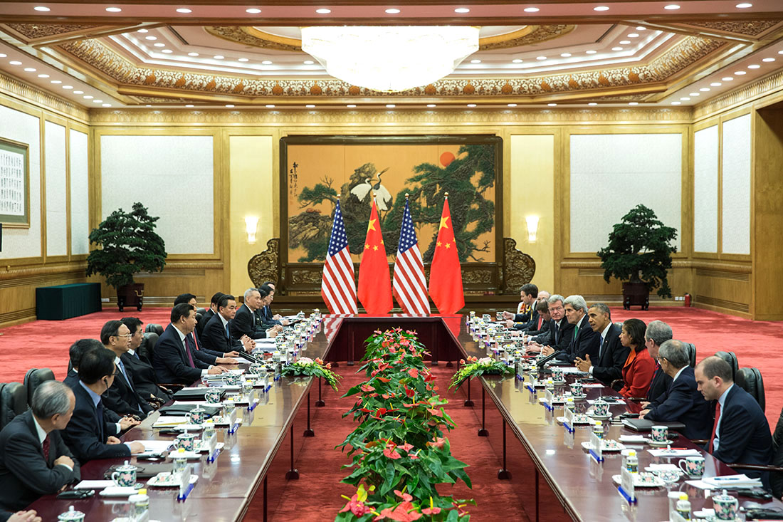 President Obama and President Xi have a bilateral meeting at the Great Hall of the People in Beijing